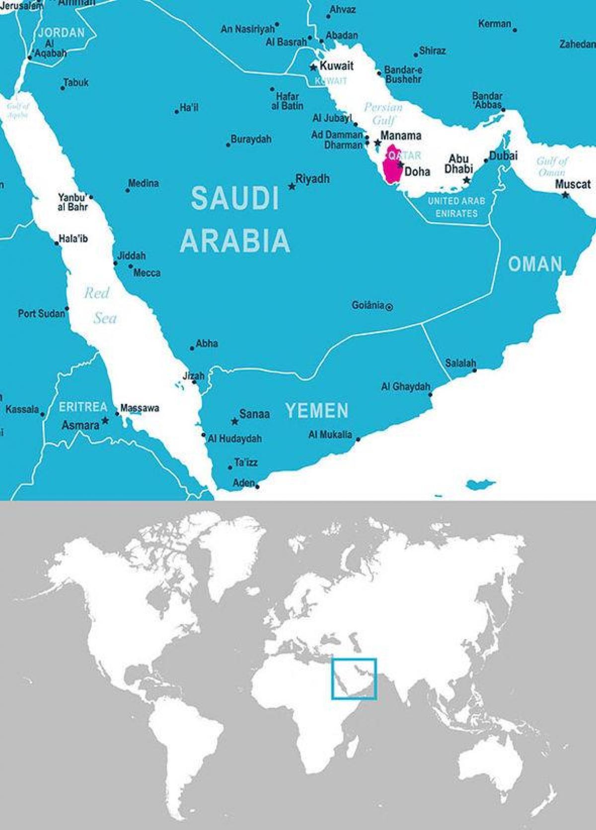 Katar Umisteni Mapa Mapa Kataru Umisteni Zapadni Asie Asie